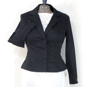 Shape FX Black Blazer w Corset Style Lacing Detail